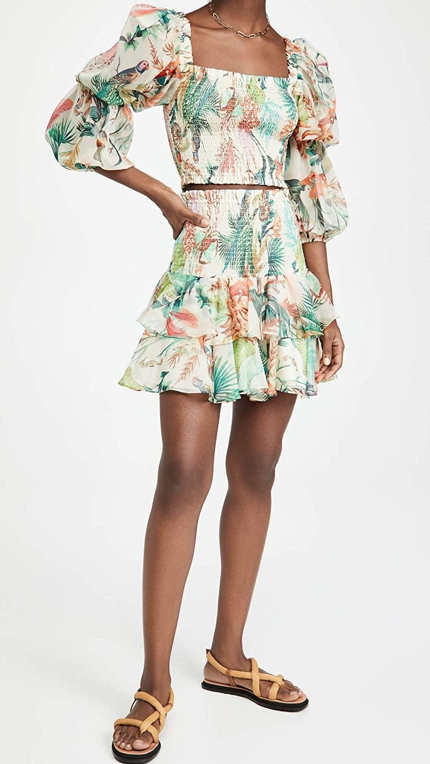 <p>Instantly feel like you're on a tropical getaways when you wear this <span>PatBO Oasis Shirred Miniskirt</span> ($277).</p>