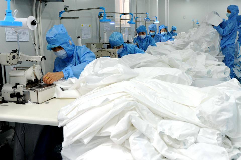 FUJIAN, CHINA - APRIL 02: (CHINA MAINLAND OUT)A medical equipment manufacturing firm receives large amounts of orders from abroad during the outbreak of novel coronavirus on 02th April, 2020 in Changting,Fujian,China.(Photo by TPG/Getty Images)