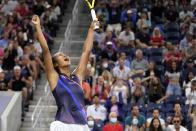 Leylah Fernandez, of Canada, reacts after defeating Angelique Kerber, of Germany, during the fourth round of the US Open tennis championships, Sunday, Sept. 5, 2021, in New York. (AP Photo/John Minchillo)