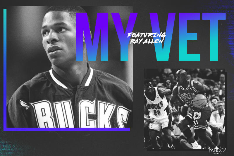 Ray Allen pays tribute to Johnny Newman, with a hint of Michael Jordan. (Graphics by Yahoo Sports' Amber Matsumoto)
