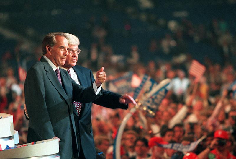 Bob Dole, left, and Jack Kemp at the Republican National Convention in San Diego on Aug.15, 1996. (Photo: Mark Boster/Los Angeles Times via Getty Images)