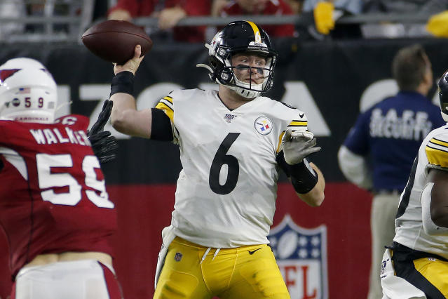 Pittsburgh Steelers quarterback Devlin Hodges (6) throws against the Arizona Cardinals during the second half of an NFL football game, Sunday, Dec. 8, 2019, in Glendale, Ariz. (AP Photo/Rick Scuteri)