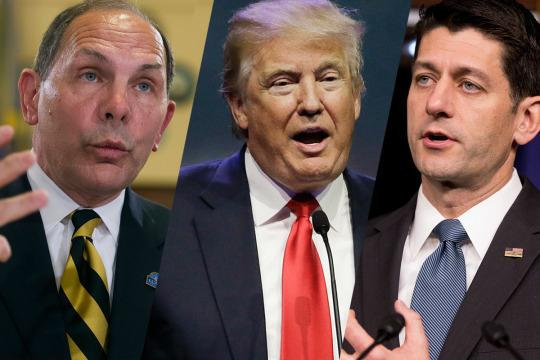 From left to right, Veterans Affairs Secretary Robert McDonald, Donald Trump and Paul Ryan (Photos: AP)