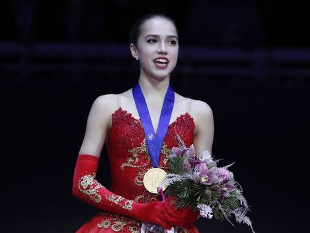 Figure Skating - ISU European Championships 2018 - Ladies' Victory Ceremony - Moscow, Russia - January 20, 2018 - Gold medallist Alina Zagitova of Russia attends the ceremony. REUTERS/Grigory Dukor