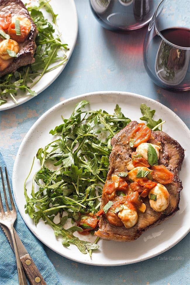 """<p>Steak is the ultimate date night menu item, is it not? This Caprese-inspired version pairs a pan-fried sirloin steak with mozzarella, tomatoes, basil, and arugula.</p><p><strong>Get the recipe at <a href=""""https://www.chocolatemoosey.com/2020/02/03/caprese-steak-dinner-for-two/"""" rel=""""nofollow noopener"""" target=""""_blank"""" data-ylk=""""slk:Chocolate Moosey"""" class=""""link rapid-noclick-resp"""">Chocolate Moosey</a>.</strong></p><p><a class=""""link rapid-noclick-resp"""" href=""""https://go.redirectingat.com?id=74968X1596630&url=https%3A%2F%2Fwww.walmart.com%2Fip%2FThe-Pioneer-Woman-Cowboy-Rustic-14-Piece-Forged-Cutlery-Knife-Block-Set-Turquoise%2F53967703&sref=https%3A%2F%2Fwww.thepioneerwoman.com%2Ffood-cooking%2Fmeals-menus%2Fg35191871%2Fsteak-dinner-recipes%2F"""" rel=""""nofollow noopener"""" target=""""_blank"""" data-ylk=""""slk:SHOP KNIVES"""">SHOP KNIVES</a></p>"""