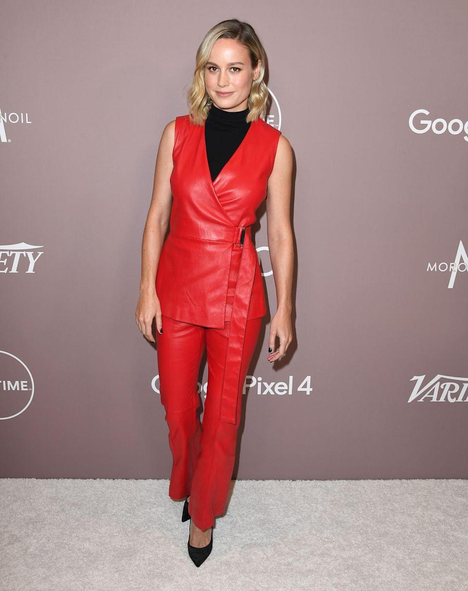 """<p>Sure, Larson might've recently performed her <a href=""""https://www.menshealth.com/fitness/a33474604/brie-larson-workout-abs-quarantine-video/"""" rel=""""nofollow noopener"""" target=""""_blank"""" data-ylk=""""slk:first workout"""" class=""""link rapid-noclick-resp"""">first workout</a> while in quarantine. But while she was training for her role in <em>Captain Marvel</em>, her mindset was quite different. """"Brie worked out 5 days a week with me pretty much the whole nine months,"""" long-time trainer Jason Walsh told <em><a href=""""https://www.menshealth.com/fitness/a26416655/brie-larson-captain-marvel-workout/"""" rel=""""nofollow noopener"""" target=""""_blank"""" data-ylk=""""slk:Men's Health"""" class=""""link rapid-noclick-resp"""">Men's Health</a>.</em> """"She worked her ass off to get into shape for this movie.""""</p><p><a class=""""link rapid-noclick-resp"""" href=""""https://www.youtube.com/watch?v=Mlz60b0o_68"""" rel=""""nofollow noopener"""" target=""""_blank"""" data-ylk=""""slk:Watch here"""">Watch here</a></p>"""