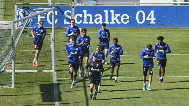 Players from Bundesliga side Schalke take part in a training session last Thursday (Martin Meissner/AP)
