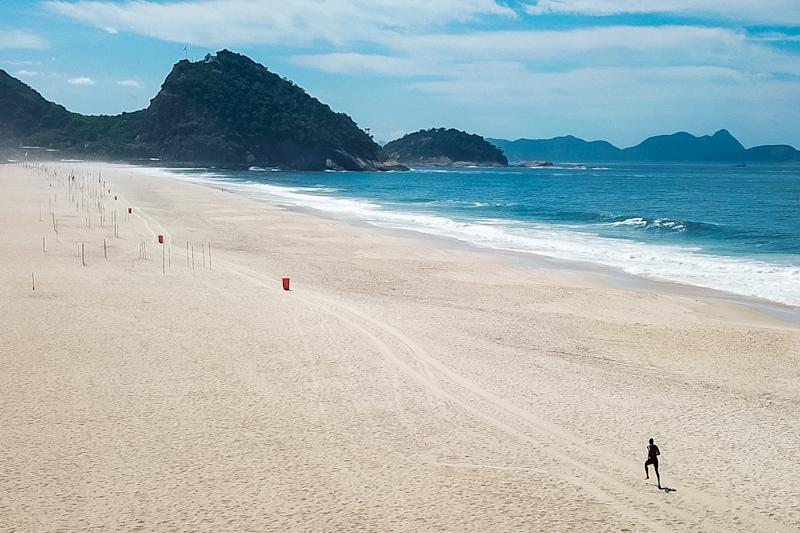 RIO DE JANEIRO, BRAZIL - March 29: An aerial view of Copacabana beach, now desolate because of the coronavirus (COVID-19) pandemic. (Photo by Buda Mendes/Getty Images)