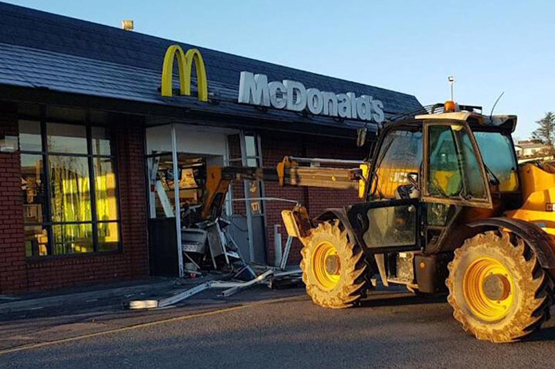 The JCB crashed into the building at 2.50 am on Tuesday: Daithi O'Brien