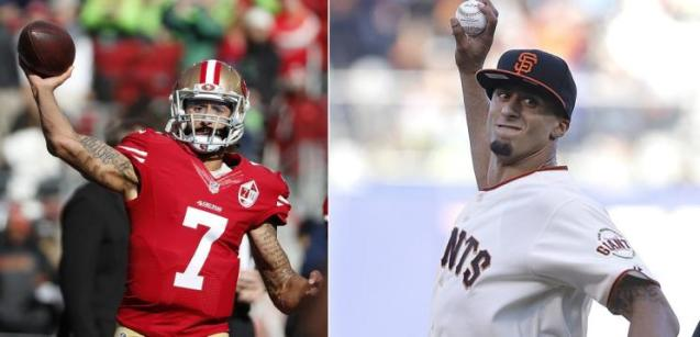 Former 49ers quarterback Colin Kaepernick was drafted by the Chicago Cubs and has thrown out the first pitch for the San Francisco Giants. (AP Photos)