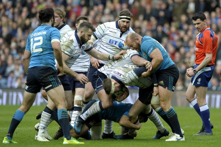With home victories against Ireland and Wales, Scotland notched a bonus point win over Italy with tries from Finn Russell (C), Matt Scott, Tim Visser and Tommy Seymour
