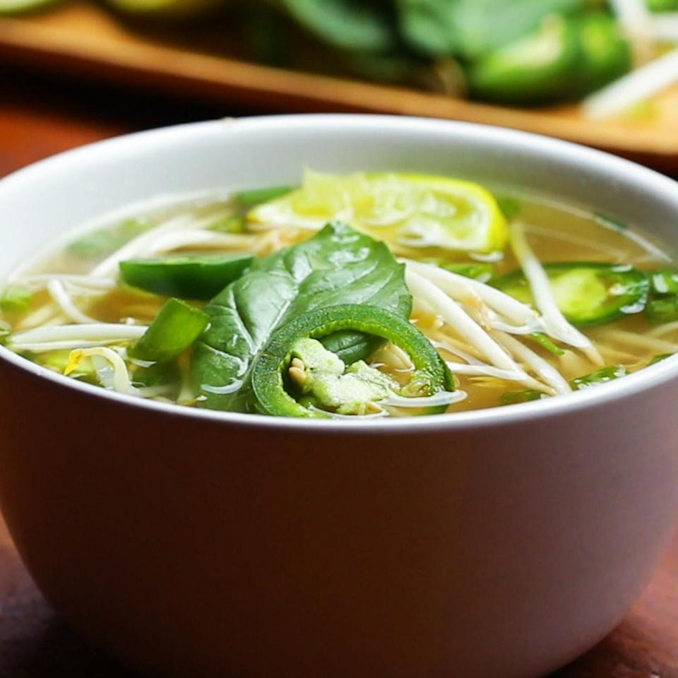 Hot bowl of pho with toppings