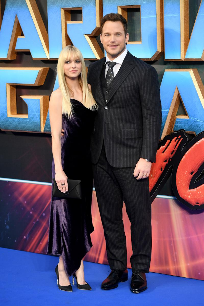 """Chris Pratt andAnna Faris pictured at the """"Guardians of the Galaxy Vol. 2"""" premiere. (Samir Hussein via Getty Images)"""
