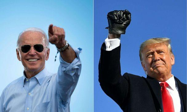 PHOTO: Former Vice President Joe Biden gestures prior to delivering remarks at a drive-in event in Coconut Creek, Fla., on Oct. 29, 2020, and President Donald Trump pumps his fist as he arrives to a campaign rally at in Green Bay, Wis., on Oct. 30, 2020. (Jim Watson and Mandel Ngan/AFP via Getty Images)