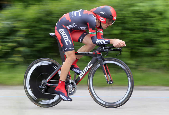 Italian cyclist Marco Pinotti rides to win the 21st and final stage of the Tour of Italy (Giro d'Italia), a 28.2 kilometre time trial around Milan, on May 27, 2012. AFP PHOTO / LUK BENIESLUK BENIES/AFP/GettyImages