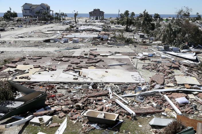 <p>The coastal township of Mexico Beach, Fla. lay devastated Friday, Oct. 12, 2018. Mexico Beach, Florida was devastated when Hurricane Michael made landfall on Wednesday in the Florida Panhandle. (Photo: Douglas R. Clifford/Tampa Bay Times via AP) </p>