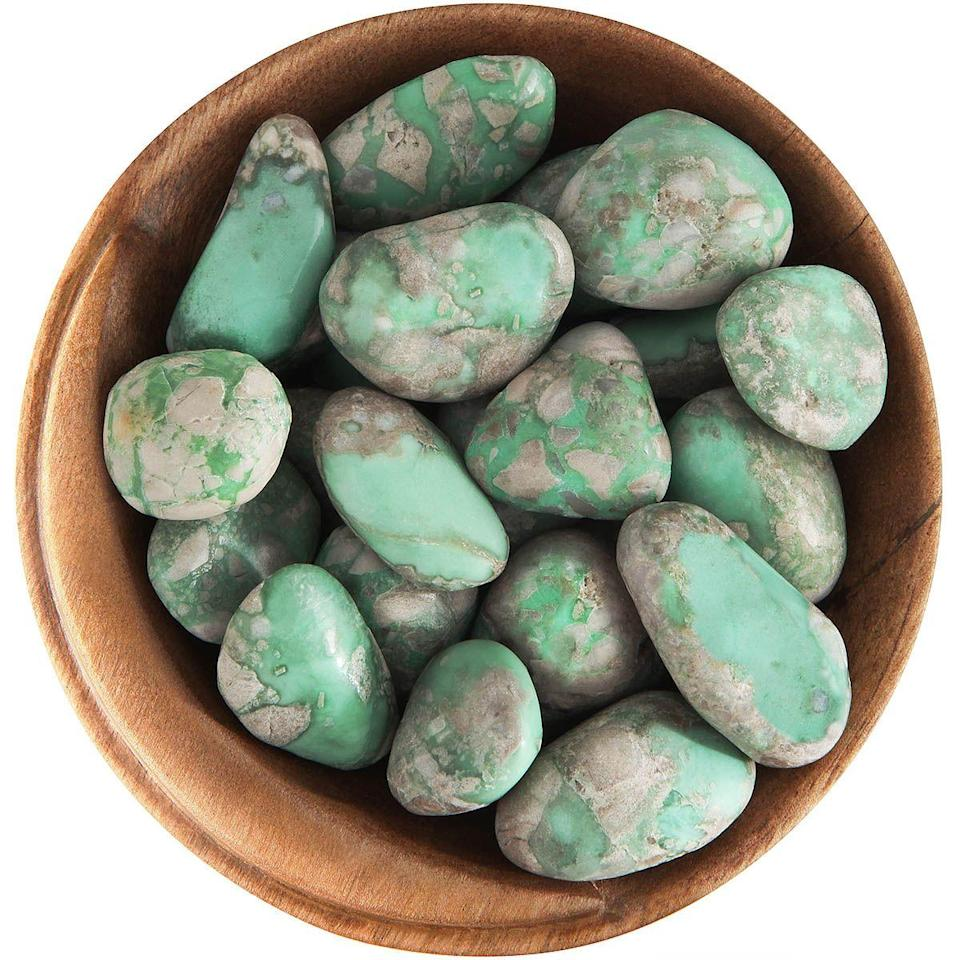 """<p>moonrisecrystals.com</p><p><strong>$16.50</strong></p><p><a href=""""https://moonrisecrystals.com/tumbled-stones/variscite/"""" rel=""""nofollow noopener"""" target=""""_blank"""" data-ylk=""""slk:Shop Now"""" class=""""link rapid-noclick-resp"""">Shop Now</a></p><p>Variscite can give you the oomph to tackle whatever you need to—it amplifies your inner fortitude and strength. It's sometimes called the """"<a href=""""https://meanings.crystalsandjewelry.com/variscite/"""" rel=""""nofollow noopener"""" target=""""_blank"""" data-ylk=""""slk:true worry stone"""" class=""""link rapid-noclick-resp"""">true worry stone</a>"""" for its fear-tackling qualities.</p>"""