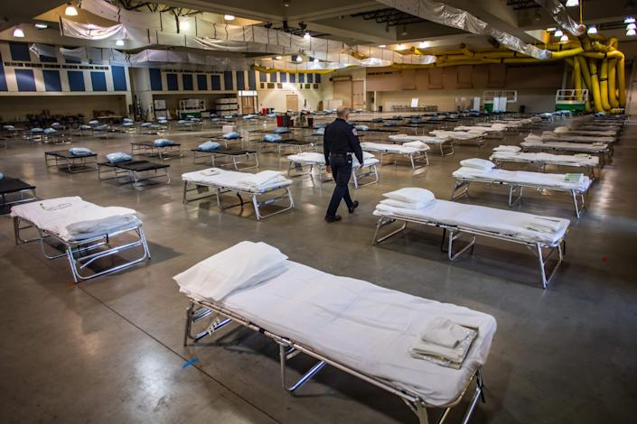 A temporary hospital set up to help ease the burden on the local hospital system amid the growing COVID-19 Coronavirus crises. (Photo by APU GOMES/AFP via Getty Images)