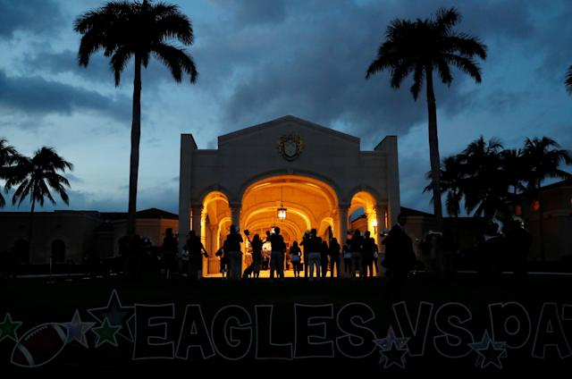 The Florida Atlantic University Marching Band plays outside of Trump International Golf Club for U.S. President Donald Trump's Super Bowl LII watch party in Palm Beach, Florida U.S., February 4, 2018. REUTERS/Leah Millis