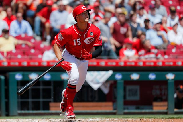 "<a class=""link rapid-noclick-resp"" href=""/mlb/teams/cincinnati/"" data-ylk=""slk:Cincinnati Reds"">Cincinnati Reds</a> rookie Nick Senzel is off to a strong start since being called up. (AP Photo/John Minchillo)"