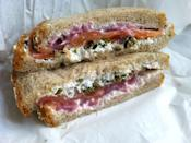 <p>Cream cheese, smoked salmon, capers, and pickled red onions are all you need for this lox and cream sandwich. Put it in between wheat bread instead of a bagel to make it appropriate for lunch. </p>