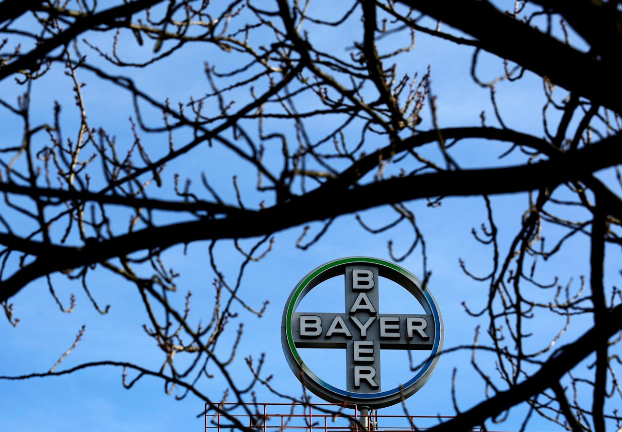 FILE PHOTO: The logo of Bayer AG is pictured at the Bayer Healthcare subgroup production plant in Wuppertal, Germany February 24, 2014. REUTERS/Ina Fassbender//File Photo