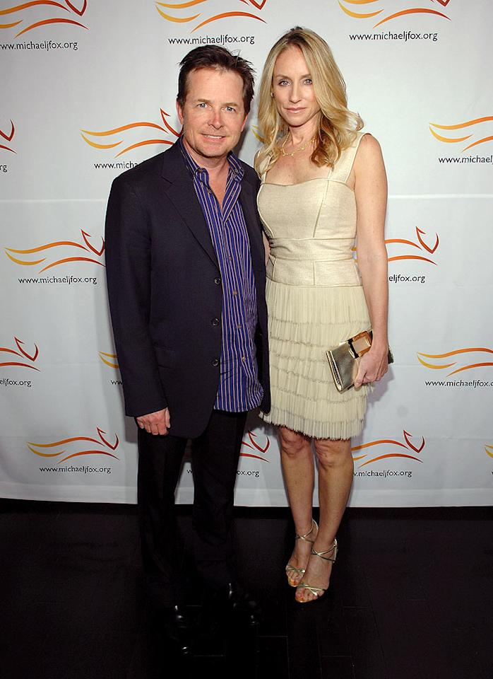 """Michael J. Fox and his wife Tracy Pollan arrive at the Michael J. Fox Foundation for Parkinson's Research Poker Fundraiser at Social Hollywood. The """"Back to the Future"""" star was diagnosed with Parkinson's in 1991. John Shearer/<a href=""""http://www.wireimage.com"""" target=""""new"""">WireImage.com</a> - May 8, 2008"""