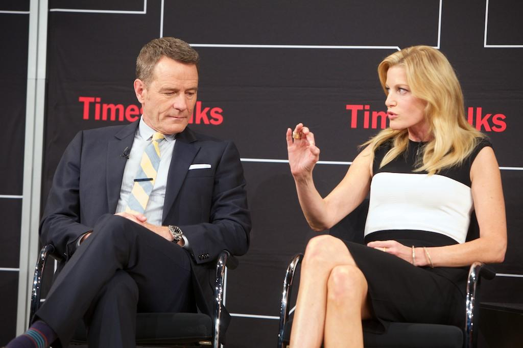 "Bryan Cranston and Anna Gunn attend TimesTalk Presents An Evening With ""Breaking Bad"" at Times Center on July 30, 2013 in New York City."