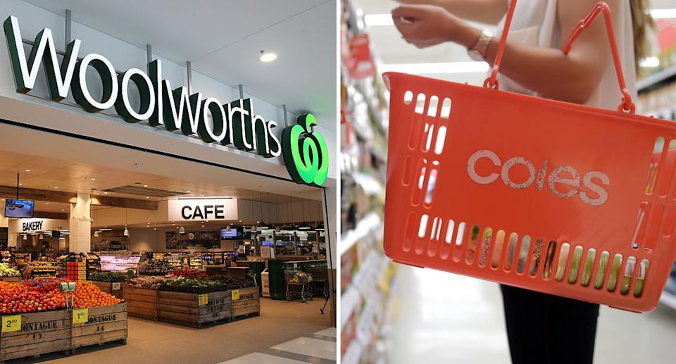 Pictured is a Woolworths store front (left) and a woman holding a Coles basket in an aisle (right).