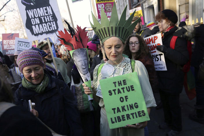 <p>Demonstrators take part in the Women's March on London Jan. 21. (AP Photo/Tim Ireland) </p>