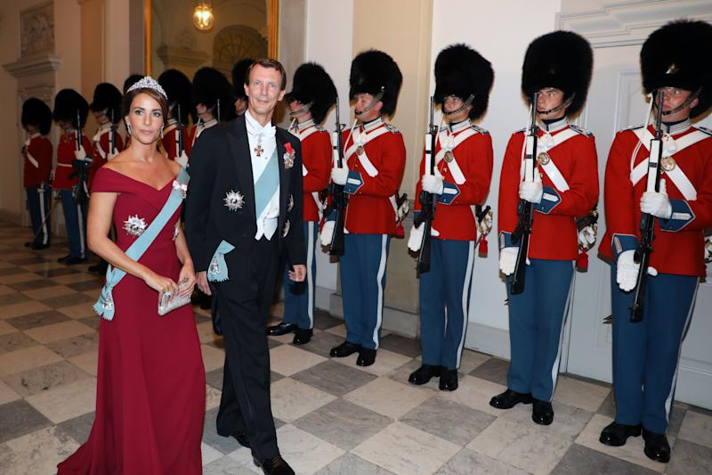 Princess Marie of Denmark and Prince Joachim of Denmark arrive for the state dinner at Christiansborg Palace in Copenhagen on August 28, 2018. (Photo by ludovic MARIN / AFP) (Photo credit should read LUDOVIC MARIN/AFP via Getty Images)