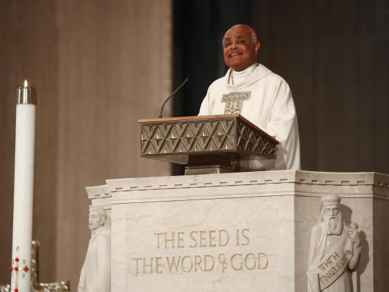 Lone American Black archbishop Wilton Gregory used his first public address to launch a scathing attack on Trump's recent racism (Getty Images)