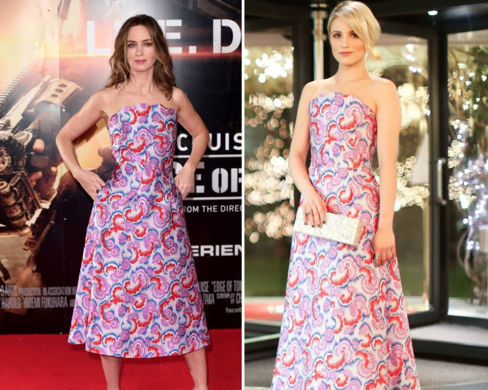 <p>Emily donned a slightly shorter version of the Osman dress that Dianna wore a couple of years previously. <i>[Photo: Rex]</i> </p>