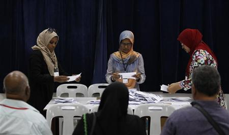 Officers at a counting centre count ballot papers in front of election monitors during presidential elections in Male