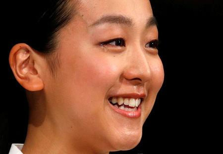 Japanese figure skater Asada attends a news conference in Tokyo