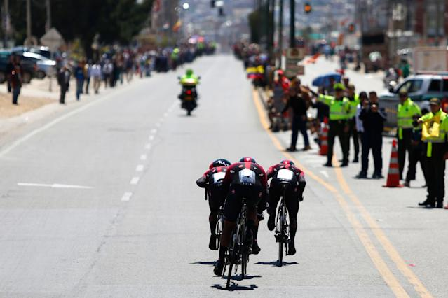 TUNJA COLOMBIA FEBRUARY 11 Egan Arley Bernal Gomez of Colombia and Team INEOS Richard Carapaz of Ecuador and Team INEOS Sebastian Henao Gomez of Colombia and Team INEOS Jhonatan Narvaez Prado of Ecuador and Team INEOS Brandon Smith Rivera Vargas of Colombia and Team INEOS Leonardo Basso of Italy and Team INEOS during the 3rd Tour of Colombia 2020 Stage 1 a 167km Team Time Trial stage from Tunja to Tunja TTT TourColombiaUCI TourColombia2020 on February 11 2020 in Tunja Colombia Photo by Maximiliano BlancoGetty Images