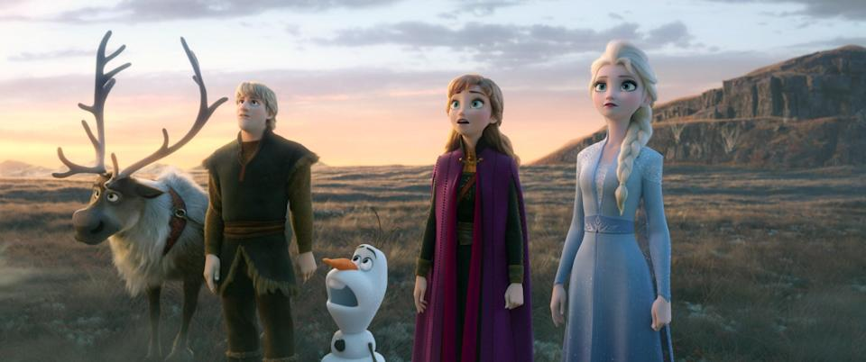 sven, kristoff, olaf, anna, and elsa looking up