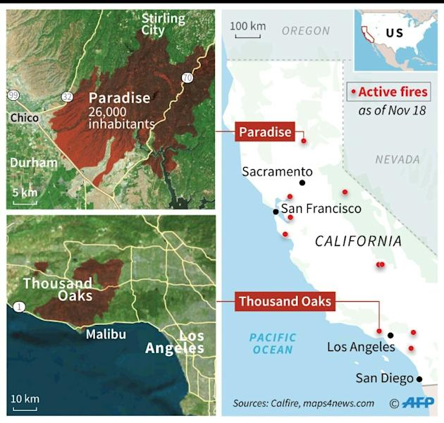 Map locating wildfires in California, with close ups on Paradise and Thousand Oaks