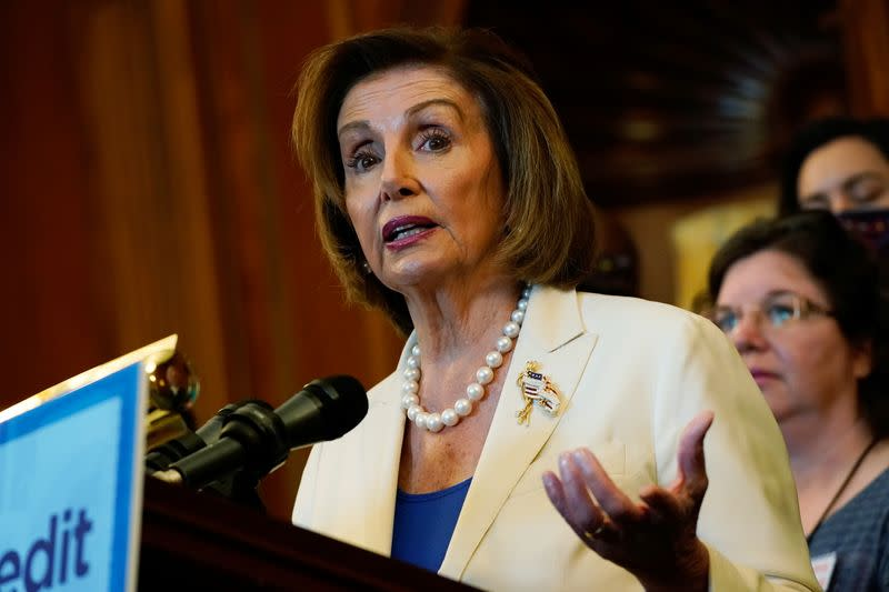 U.S. Senate Majority Leader Chuck Schumer and House Speaker Nancy Pelosi hold a news conference on Capitol Hill