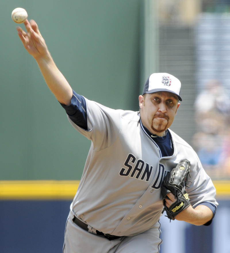 San Diego Padres pitcher Aaron Harang throws against the Atlanta Braves in the first inning of a baseball game at Turner Field, Monday, May 30, 2011, in Atlanta. (AP Photo/Erik S. Lesser)
