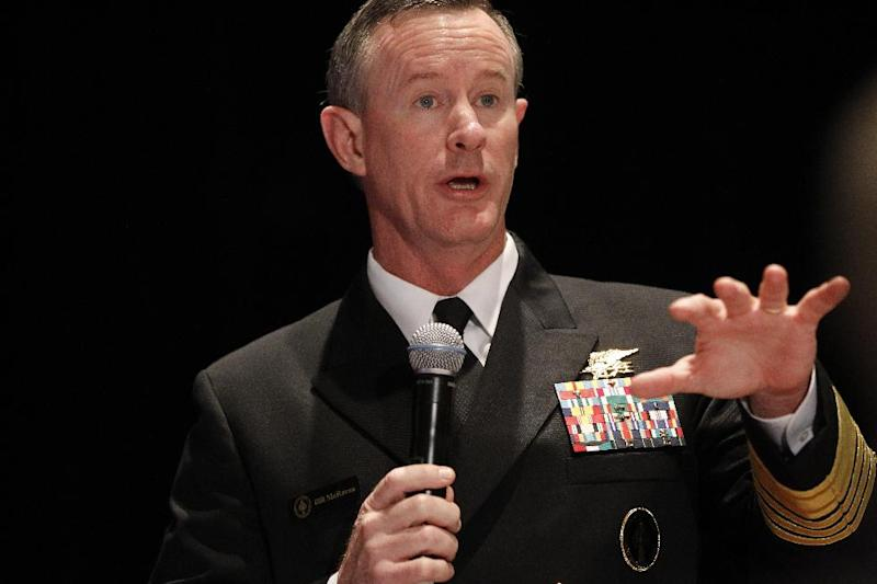 """FILE - Navy Adm. Bill McRaven, commander of the U.S. Special Operations Command, addresses the National Defense Industrial Association (NDIA), in Washington, in this Feb. 7, 2012 file photo. Special operations chief McRaven is warning he will take legal action against anyone under his command if they're found guilty of exposing sensitive information that could cause fellow forces harm. In an email Thursday Aug. 23, 2012  to special operations forces and obtained by The Associated Press, McRaven threatens to pursue """"every option available to hold members accountable, including criminal prosecution.""""   (AP Photo/Charles Dharapak, File)"""