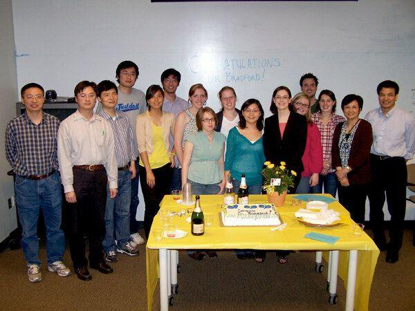 Professor Xiao-Jiang Li (right) and Shihua Li (second from the right) Credit: Emory University