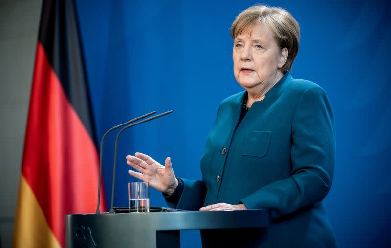 German Chancellor Angela Merkel statement on the spread of the new coronavirus disease (COVID-19) in Berlin