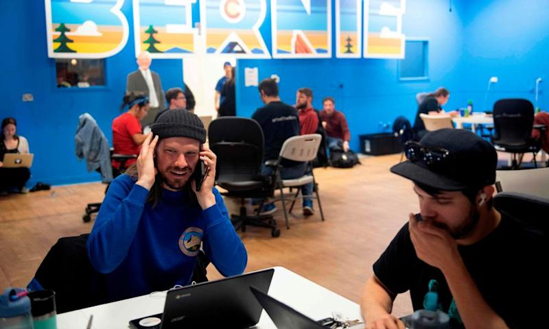 Phone bank volunteers call potential voters from Bernie Sanders' Colorado campaign office on 3 March.