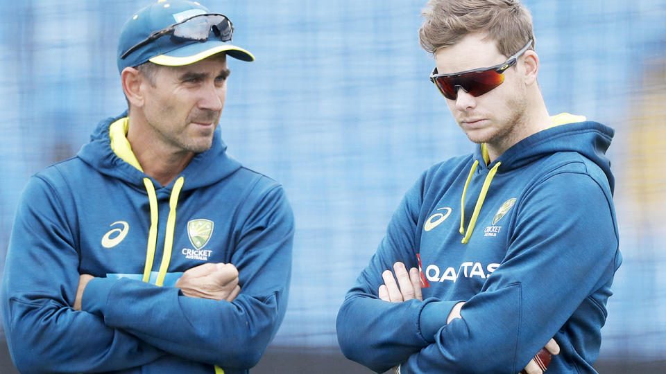 Justin Langer and Steve Smith, pictured here during the 2019 Ashes series.