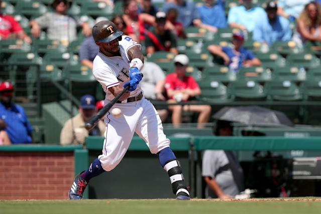 """For the moment, <a class=""""link rapid-noclick-resp"""" href=""""/mlb/players/9574/"""" data-ylk=""""slk:Delino DeShields"""">Delino DeShields</a> is the Texas leadoff man (Tom Pennington/Getty Images)"""