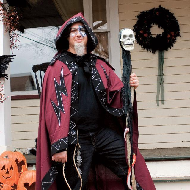 """<p>Make a magical entrance to a Halloween party in this easy-to-make wizard getup. </p><p><strong><em><a href=""""https://www.womansday.com/style/fashion/a28902313/wizard-costume/"""" rel=""""nofollow noopener"""" target=""""_blank"""" data-ylk=""""slk:Get the Wizard tutorial"""" class=""""link rapid-noclick-resp"""">Get the Wizard tutorial</a>. </em></strong> </p>"""