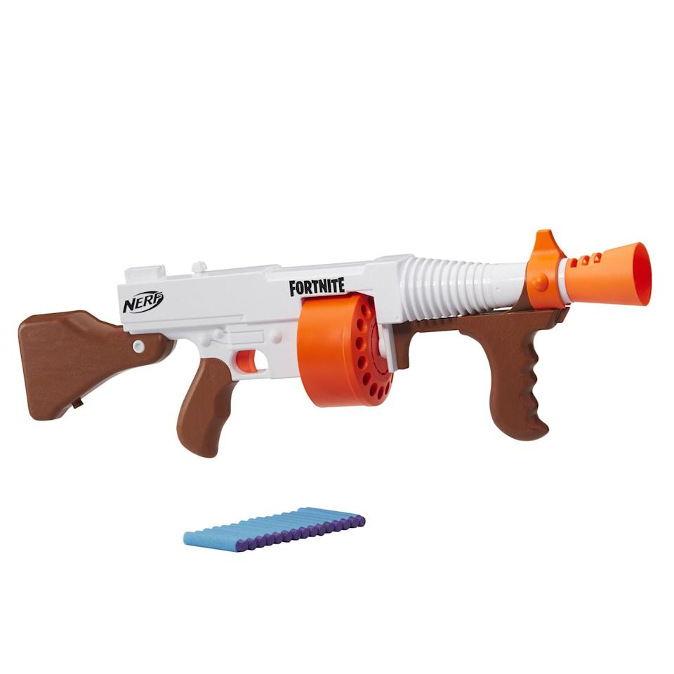 """<p><strong>Nerf</strong></p><p>walmart.com</p><p><strong>$29.97</strong></p><p><a href=""""https://go.redirectingat.com?id=74968X1596630&url=https%3A%2F%2Fwww.walmart.com%2Fip%2F675448829&sref=https%3A%2F%2Fwww.bestproducts.com%2Fparenting%2Fg34074265%2Fwalmart-top-toys-of-2020%2F"""" rel=""""nofollow noopener"""" target=""""_blank"""" data-ylk=""""slk:Shop Now"""" class=""""link rapid-noclick-resp"""">Shop Now</a></p><p>Inspired the DG Blaster in the ever-popular game <em>Fortnite</em>, this version by Nerf helps to bring the game to life. Complete with high-performing darts, this blaster can continuously shoot off 15 at a time without stopping. Put your fine china away, because a battle is on the horizon. </p>"""