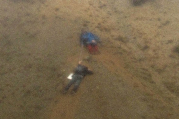 Two walkers cling to cliff after footpath disintegrates