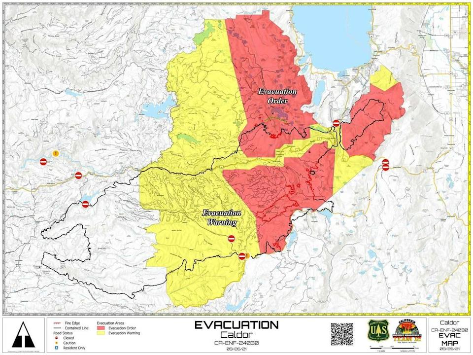 A Forest Service map shows evacuation orders and warnings still active due to the Caldor Fire.